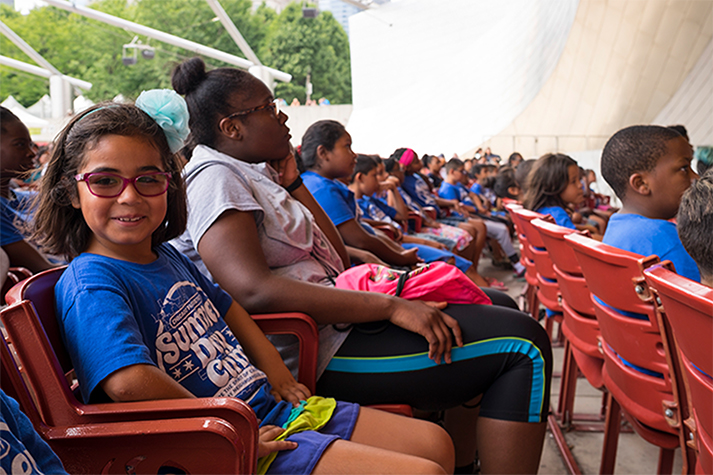 Campers get the VIP tour of the Jay Pritzker Pavilion