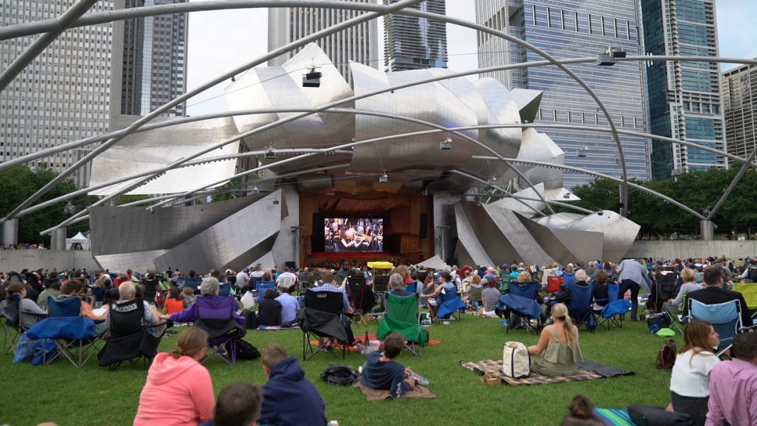 View from the Great Lawn in Millennium Park